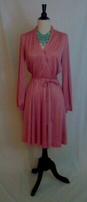 Vintage Pink Satin Long Sleeve Party Short Dress size 4 or 6 1970s 70s