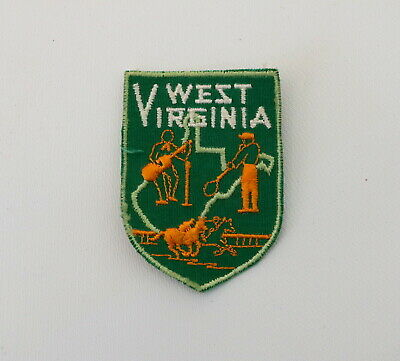 West Virginia Embroidered Patch Green Vintage Jacket Hat Guitar Player Horse WV