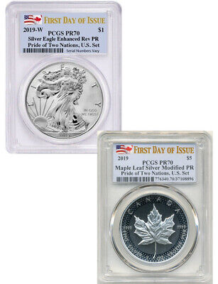 2019 2-Coin Pride of Two Nations Set Silver Eagle Maple FDOI PCGS PR70