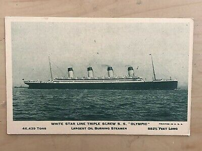 Olympic (Titanic Sister Ship) White Star Line Early Photo Post Card UNPOSTED