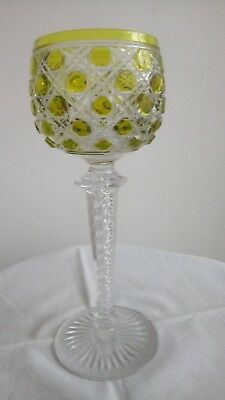 Chartreuse Cut To Clear Wine Glass Twisted Stem Saint Louis Antique Beautiful