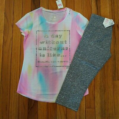 NWT Justice Girls Outfit Unicorn Top/Capri Leggings Size 8  12 14 16