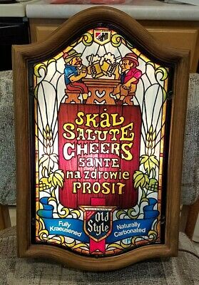Heileman Old Style Ska Salute Cheers Sante Nazdrowie Prost Lighted Beer Sign
