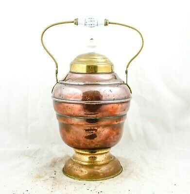 Copper DUTCH Coal Ash Scuttle Fireplace Bucket Brass Umbrella stand with lid