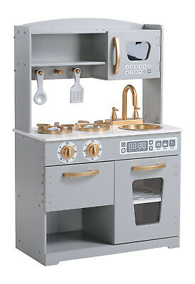 Wooden Play Kitchen Kids Pretend Play Toy by Hooga Grey/ Gold - HG19001G