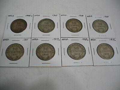 Lot  Of 8 1904-19  Canada Silver Half Dollar Coins   Complete Lot Newfoundland