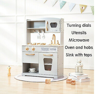 Kids Wooden Play Kitchen Pretend Play Toy for Boys Girls Grey/ Gold - HG19001G