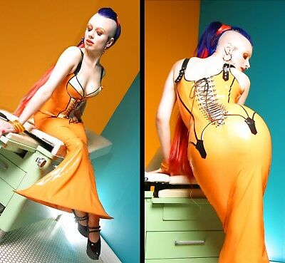 House of Harlot Latex Corset Dress Diva Gown Fetish Cosplay Burlesque Vintage