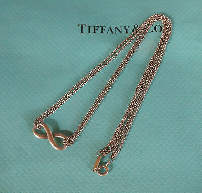 "Tiffany & Co Sterling Silver Infinity Necklace 16"" Double Chain New Style Box"
