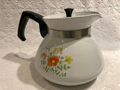 Vintage CORNING-WARE 1977-85; P-104 6-CUP Wildflower COMPLETE Lidded Tea-Pot