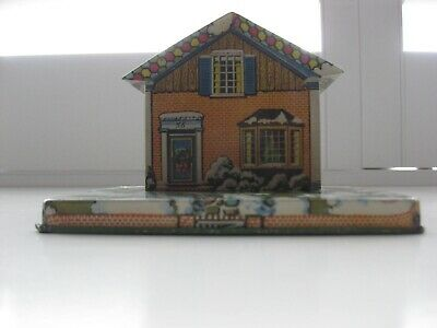 Vintage  1950 Tin Litho Toy Savings Bank House