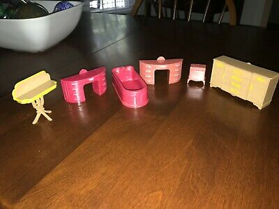 Plasco Mid Century Plastic Dollhouse Furniture Dressers Bath Tub Tables Buffet