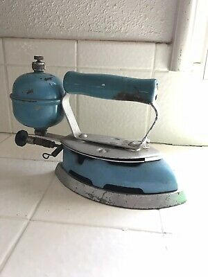 Vintage Coleman Blue Enamel Gas Iron Untested For Parts Or Repair!!