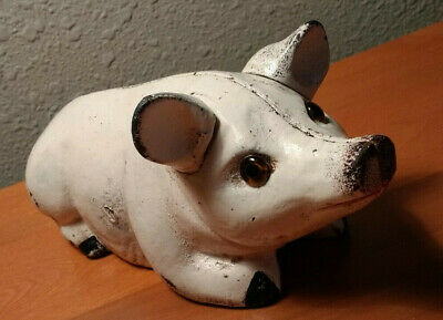 """Old Vintage Cast Iron Piggy Bank - Laying Position  Glass Eyes  8.5""""  Very Heavy"""