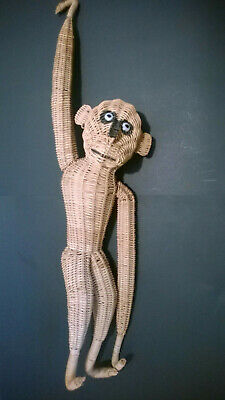 Vintage Mid Century Wicker Rattan Hanging Monkey Large Rare
