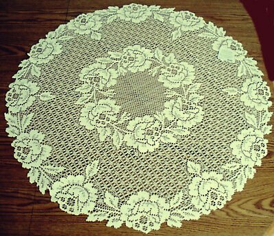 Cottage Rose 30 Inch Round Ecru Table Topper Heritage Lace