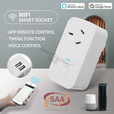 15A Wifi Smart Plug Power Socket USB Outlet Switch Remote Echo ALEXA Google Home