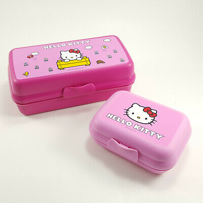 Tupperware Lunch Packable Storage Container Hinged Design Hello Kitty Pink Set 2