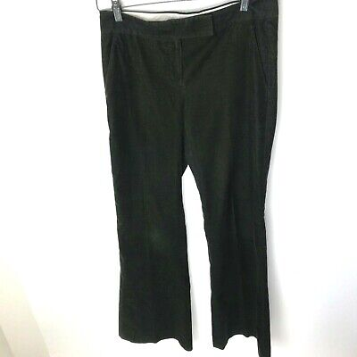 THEORY Green Corduroy Women's Wide Leg Trouser Pants, Size 6