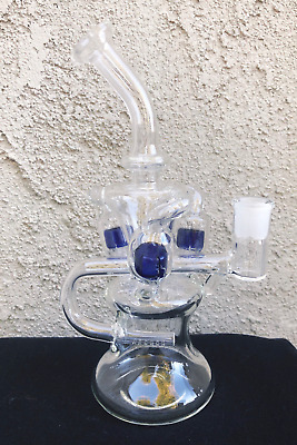 """Hookah Water Pipe Glass Bong 9"""" Percolator Dual Recycler With Bowl Included"""