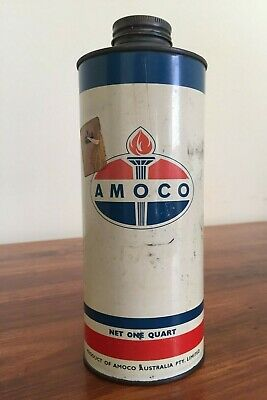 Vintage Amoco Oil Tin can One Quart Petrol & Oil Collectables