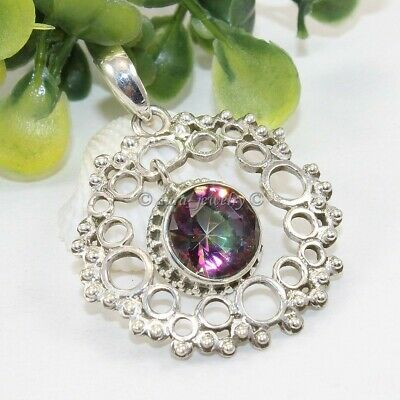 Natural Mystic Topaz Solid 925 Sterling Silver Pendant Necklace Gift Jewelry