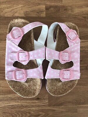 BNWOT Mothercare Girls Size 12 Infant Pink And White Spotty Cork Buckle Sandals