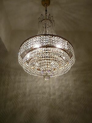 Vintage Brass and Crystal Old Chandelier (41 cm. Diameter)