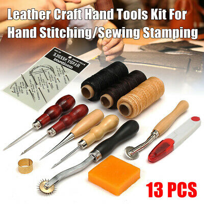 Leather Craft Tools Punch Kit Stitching Carving Working Sewing Saddle Groover UK