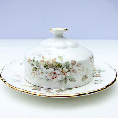 Vintage Royal Albert Haworth Bone China Round Butter Dish Cover Dome