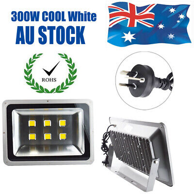 300W LED Flood Light Cool White IP65 Modern Wall Spot Lamp Outdoor 240V AU Plug