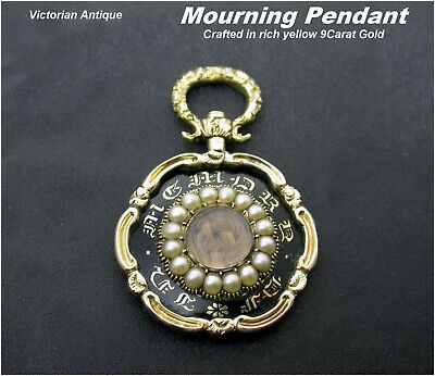 Antique Mourning Pendant 9ct gold Seed pearls Black Enamel Beautiful hair box