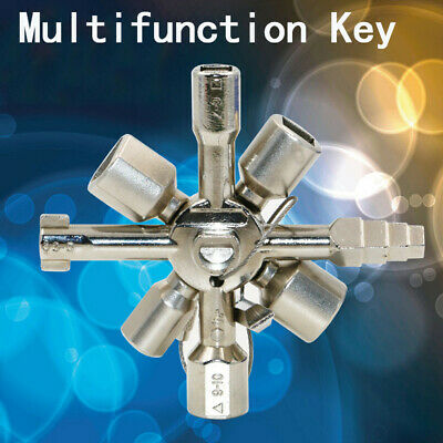 10 in 1 Multifunction Electrician Plumber Utility Cross Switch Wrench Key Silver