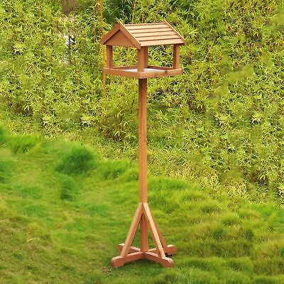 Deluxe Bird Table Feeding Station Wooden Feeder Outdoor Garden Free Standing