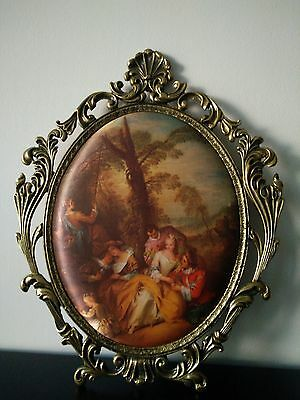"""Antuque Rococo Style Depose Ornate Metal Frame Silk Print 15""""Tall"""