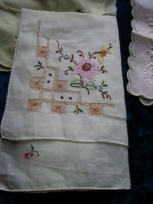 Lot of 8 Vintage Handkerchiefs Embroidered Broderie Anglaise Cotton Lawn