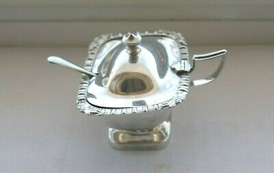 Vintage Silver Plate Mustard Pot + Silver Plated Mustard Spoon
