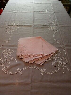 Vintage Swiss Pink embroidered organza tablecloth 8 napkins unused in box
