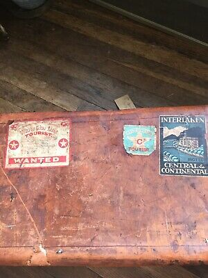 WHITE STAR LINE RMS OLYMPIC STICKERED LEATHER SUITCASE (titanic Sister Ship)