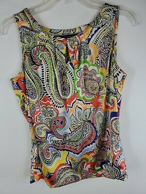 Tommy Hilfiger Blouse Top Small Petite Paisley Scoop Sleeveless Woman Red Blue