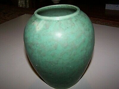 Arts&Crafts Mission Clay American Art Pottery Vase Mottled Green Matte Glaze