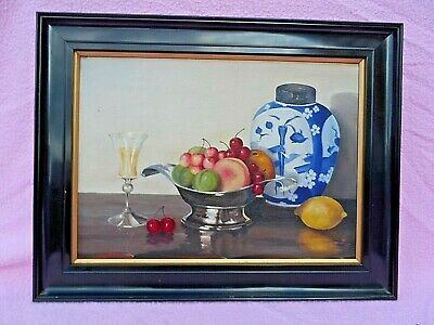 Old Signed And Dated (S Sharman 1932?) Still Life Oil Painting On Canvas Board