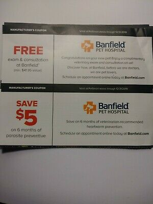 graphic regarding Banfield Coupons Printable known as PETSMART Discount codes BANFIELD Dog Medical center examination Session $5 parasite Exp 12/31