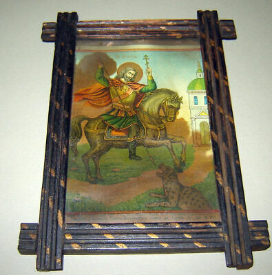ANTIQUE OLD 19c RUSSIAN ICON Saint Mina Minas Menas  Wooden FRAME Litho GLASS