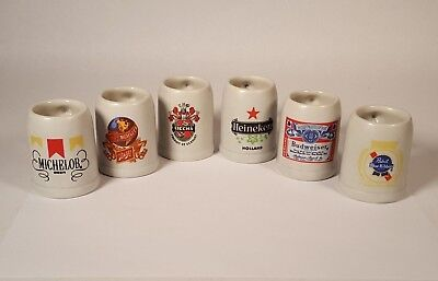 Miniature Ceramic Beer Steins Set of 6 Shot Glasses American Germany and Holland