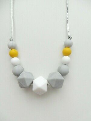 Silicone Teething Necklace Nursing Breastfeeding Sensory BPA Free Mustard& Grey