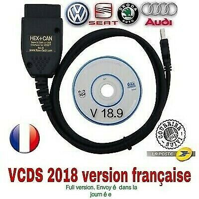 VAGCOM 18.9.0 VCDS HEX CAN Interface USB pour VW AUDI  Français / Anglais