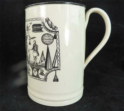 M020 Antique Late 18Th Century Creamware Masonic Tankard