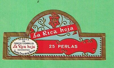 "VITOLASYMAS CIGAR LABELS.- ""25 PERLAS by LA RICA HOJA, STA. CRUZ"" - RF002"