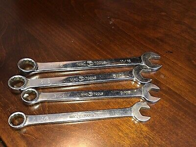 Mac Tools Combination Wrench Lot/4: 1/2 Cl152 9/16 Cl185 5/8 Cl202 11/16 Cl222